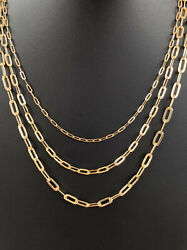 Solid 14k Yellow Gold Paperclip Rolo Chain 2.5mm 4mm 5mm Necklace 16