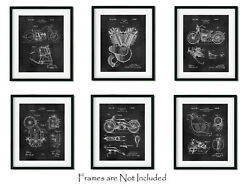 6 Patent Prints Harley Davidson American Motorcycle Lovers Gift 8quot;x10quot; Wall Art $18.95
