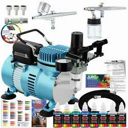 Master Airbrush Compressor Kit with 2 Airbrushes 6 Acrylic Paint Colors Art Set $129.96