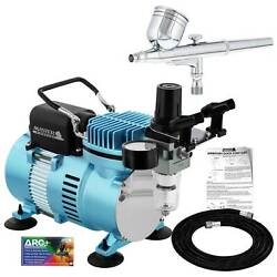 Master Airbrush Air Compressor System Kit Gravity Feed Dual Action Airbrush Set $99.96