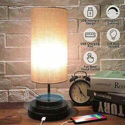USB Touch Control Table Lamp - Moobibear Minimalist Bedside Desk Lamp with Cylin $36.82