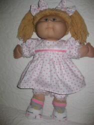 CPK doll clothes16-18 inchpink flowers on white dressbloomershair bows $12.95