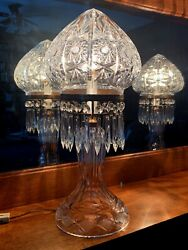 VINTAGE LEADED CRYSTAL LAMPS MATCHING PAIR TURKISH DOME $1150.00