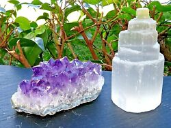 Pure Aura Home Protection Crystals Selenite Tower And Amethyst Cluster-Reiki $15.99