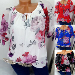 Womens Floral Printed Short Sleeve T-Shirts Summer Casual Tops Blouse Oversized