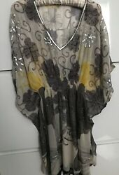 Beach Sheer Floral Chiffon Beaded & Sequined Beach Tunic One Size (S-M) $34.99