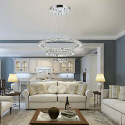 HOMCOM Modern Crystal Led Chandelier Multi Angle w Remote Control Dimmable Light $113.99