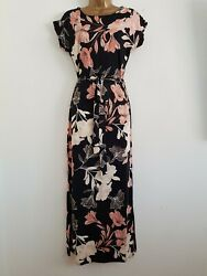 NEW Ex Debenhams Size 10-20 Black Coral Belted Floral Printed Maxi Dress $25.01