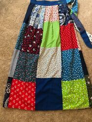 Womens Vintage Wrap Skirt Hippie 70's Patchwork Maxi Psychedelic Colorful Small $34.50