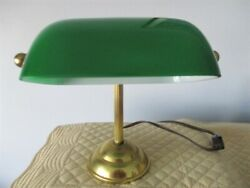 Small Tole Brass & Green Glass Banker's Desk Table Night Light Lamp $39.60