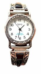 LEGACY Women#x27;s Watch Onyx Sterling Silver Disigner Band RARE Very UNIQUE $73.22