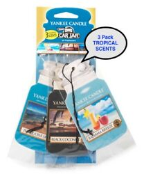 YANKEE CANDLE CAR JARS - 3 PACK - BLACK COCONUT - BAHAMA BREEZE - TURQUOISE SKY $6.88