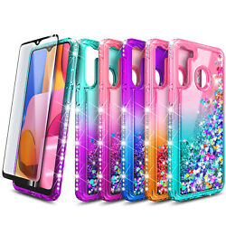 For Samsung Galaxy A21 Case Liquid Glitter Bling Cover Tempered Glass Protector $9.99