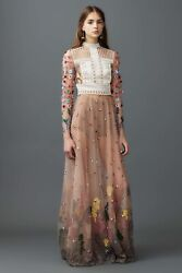 VALENTINO RUNWAY FLORAL EMBELLISHED LONG SLEEVE TULLE WEDDING GOWN IT 38