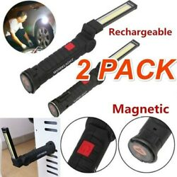 2 Rechargeable COB LED Magnetic Torch Inspection Lamp Cordless Worklight $19.95