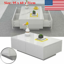 Modern High Gloss White Coffee Table Side End Table Living Room Furniture Drawer $131.59