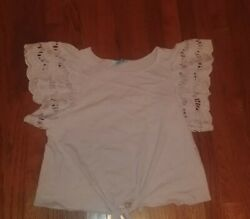 She + Sky Flutter Ruffle Sleeve Tie Front Boutique Top Size Small $5.00