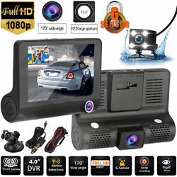 4quot; Touch Screen Car Camera Dual Dash Cam Front amp; Rear Night Vision G sensor 170° $39.98
