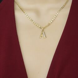 14K Gold Plated Initial Letter Name Pendant Necklace with Chain. Oro Laminado $13.99