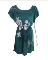 Orion London Womens Blouson Dress Embroidered Neck Green Floral Print Size: XSS $9.99