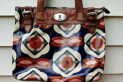 FOSSIL KEY-PER Canvas Coated Floral Shoulder Bag Purse - Leather Handles  $17.95