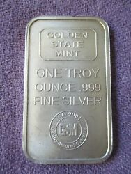 Golden State Mint Commercial ISO RARE 1 Troy Oz.  .999 Fine Silver Art Bar  $23.50