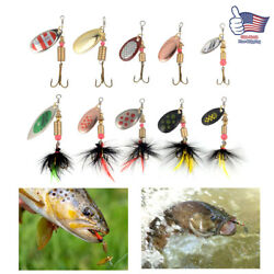 10PCS Fishing Lures Metal Spinner Baits Bass Tackle Crankbait Trout Spoon Trout $10.29