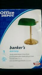 Bankers Desk Lamp Emerald Green Glass Shade Brass Base Library Office $40.00