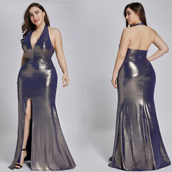 Ever-Pretty Backless Halter Split Long Evening Prom Dress Mermaid Cocktail Gowns $9.99