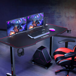 55 inch Computer Desk Gaming Table Racing Style Home Office Ergonomic Black $199.99