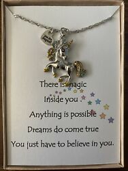 Unicorn Pendant necklace w love poem for your daughter And Loved One $14.95