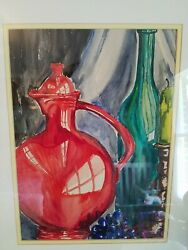 Vintage Mid Century Modern Retro Signed Watercolor style Painting Very Cool $40.00