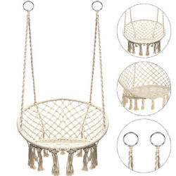 Cotton Hanging Rope Hammock Chair Swing Round Indoor Outdoor Home Garden Patio $49.88