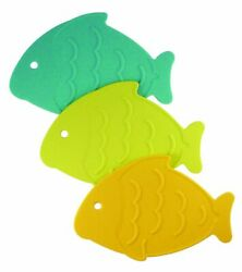 Star Kitchen and Home 3 Piece Silicone Fish Shaped Trivets Potholders Hotpads $7.99