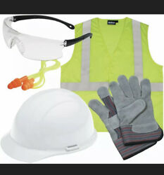 ERB Safety New Hire ANSI Helmet Glasses Eat Plugs Leather Gloves Vest Xl Class 2 $26.00