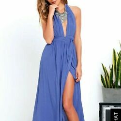 Lulu's Size Medium Magical Movement Periwinkle Blue Open Back Wrap Maxi Dress
