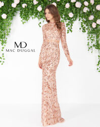 NEW MAC DUGGAL 4316D Couture Runway Rose Gold Beaded Long Sleeve Mermaid Gown 4