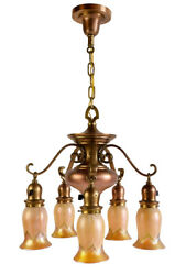 five arm red brass chandelier $8750.00