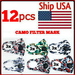 Sale 6 PCS Camo Filter Reusable Mask Washable Face Cover Protective Mouth $10.95