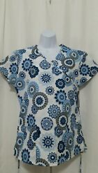 ZIKIT SMALL SHADES OF BLUE DESIGN SCRUB TOP NEW WITH TAGS $10.95