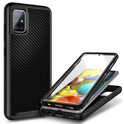 For Samsung Galaxy A71 5G Carbon Fiber Case Cover + Built-In Screen Protector $10.95