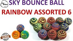 6 SKY BOUNCE RAINBOW ASST COLOR HAND BALLS RACKET BALL RACQUETBALL TAIWAN $10.95
