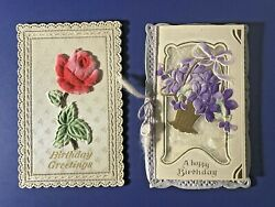 2 Novelty BIRTHDAY Antique Postcards Embossed Die Cut Fuzzy Flower Booklet $14.95