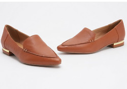 Franco Sarto Starland Classic Modern Twist Leather Loafers Shoes Cognac $44.50