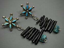 Long RARE Vintage Zuni Sterling Silver Turquoise & Black Coral Dangle Earrings