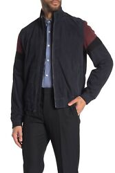Vince Colorblock Leather Track Jacket size L RV$990 NDS181 $219.99