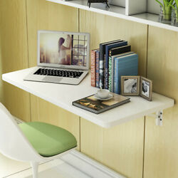 White Wall Mount Floating Folding Computer Desk Home Office Convenient  PC Table $79.99