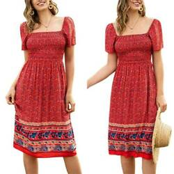 Women Floral Square Neck Short Sleeve Midi Dress Summer Holiday Casual Sundress $20.51