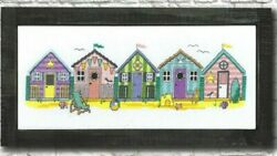 LITTLE BEACH HUTS 5 Houses in a Row Bright Colors Counted Cross Stitch Pattern $13.90