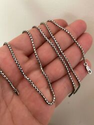 Solid 925 Sterling Silver Rounded Box Chain 2mm Necklace Black Oxidized Rhodium $40.48
